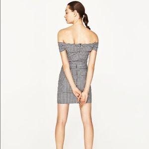 Zara Dresses - Zara Gingham Black and White Ruched Wrap MiniDress